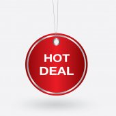Red oval hot deal tag. vector illustration — Stock Vector