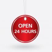 Ovale rosso 24 ore tag di apertura. illustrazione di vettore — Vettoriale Stock