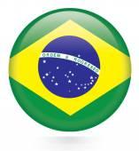 Brazil flag button — Stock Vector