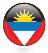 Antigua and Barbuda flag button — Stock Vector
