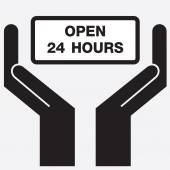 Hand showing open 24 hours sign icon. Vector illustration. — Stock Vector