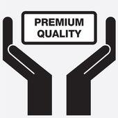 Visar premium kvalitet tecken handikon. Vektor illustration. — Stockvektor