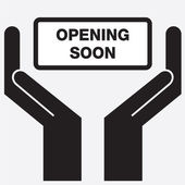 Hand showing business opening soon sign icon. Vector illustration. — Stock Vector