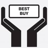 Hand showing best buy sign icon. Vector illustration. — Stock Vector