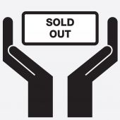 Hand showing sold out sign icon. Vector illustration. — Stock Vector