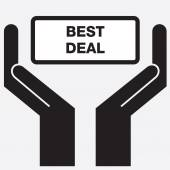 Hand showing best deal sign icon. Vector illustration. — Stock Vector