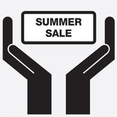 Hand showing summer sale sign icon. Vector illustration. — Stock Vector