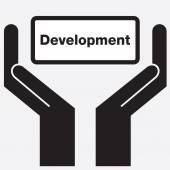 Icono de señal de mano que muestra desarrollo. Ilustración de vector. — Vector de stock