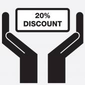 Hand showing 30 percent discount sign icon. Vector illustration. — Stock Vector