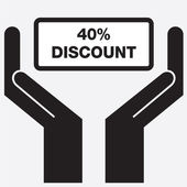 Hand showing 40 percent discount sign icon. Vector illustration. — Stock Vector