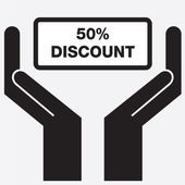 Hand showing 50 percent discount sign icon. Vector illustration. — Stock Vector