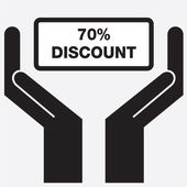 Hand showing 70 percent discount sign icon. Vector illustration. — Stock Vector