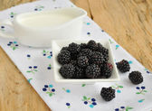 Blackberries in a bowl and cream — Stock Photo