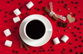Coffee with spices and marshmallow on red textile background. Va — Stock Photo