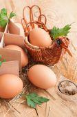 Easter eggs in a wicker basket — Stock Photo