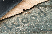 Sawdust on wooden table. Carpenter workplace top view — Stock Photo