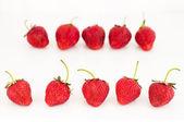 Fresh red ripe strawberries berries isolated on white — Stock Photo