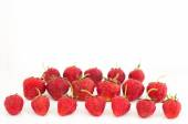 Fresh red ripe strawberries berries isolated on white. Space for — Stock Photo