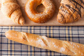 Fresh baking and croissants, french baguette for morning breakfa — Stock Photo