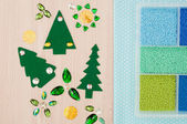 Beads, cotton textile for needlework and christmas tree made of — Stock Photo