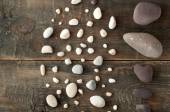 Sea stones on wooden background — Stock Photo