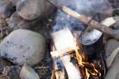 Příprava potravin na táborák — Stock fotografie