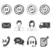 24 Hour Services Icons Set — Vector de stock