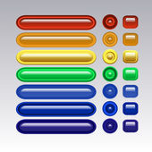 Colored glass buttons, long, round and square. — Cтоковый вектор