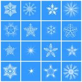 Snowflake  16 winter set vector. — Stock Vector