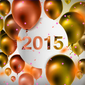 Happy New Year celebration background with gold balloons and confetti — Stockvektor