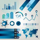 Blå grafiska element för att skapa Infographics. — Stockvektor