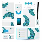 Blue graphic elements for corporate identity templates. — Stock Vector
