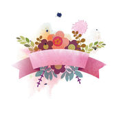 Watercolor Illustration with ribbon and flowers. — Stock Vector