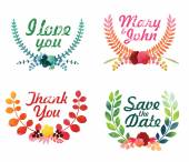 Watercolor laurel wreaths. — Stock Vector