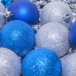 Colorful blue and silver  christmas decoration baubles — Stock Photo #56699857