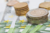 Euro coins and banknotes money. Macro background. — Stock Photo