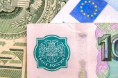 World money - Dollars, euros, russian roubles — 图库照片