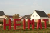 Inicio Letras delante de casas — Foto de Stock