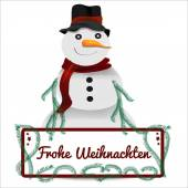 Snowman with christmas sign vector graphic — Stock Vector