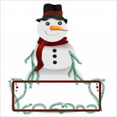 Snowman with sign with copy space vector graphic for christmas — Stock Vector