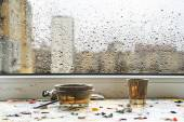 Rain at the behind the window — Stock Photo
