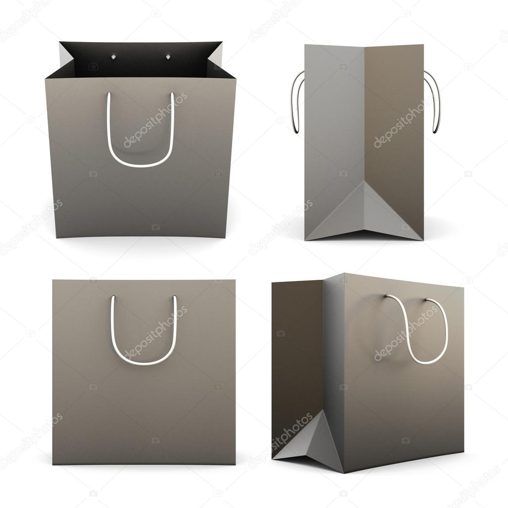 Set of black paper shopping bags from different angles. 3d ...