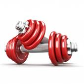 Two red dumbbells on white background — Stock Photo