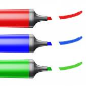 Three colored markers depicting a line on a white background. — Stock Photo
