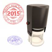 Plastic stamp with the text Happy new year 2015 isolated on whit — Foto Stock