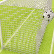 Football ball flies into the net gate — Stock fotografie #63812803