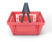 Red plastic shopping baskets for food  — Stock Photo