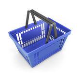 Shopping plastic basket blue — Stock Photo