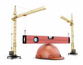 Two construction cranes raise the construction level lying on a  — Stock Photo