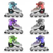 Set of roller skates different color — Stock Photo